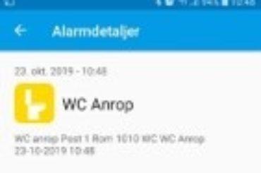 Smarttelefon App – anrop WC