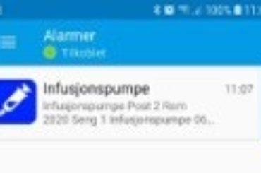 Smarttelefon App – Infusjonspumpe alarm